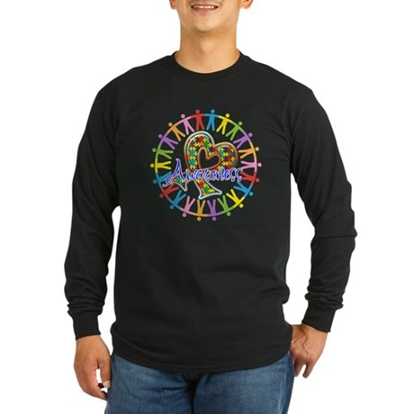 Autism Unite in Awareness Long Sleeve Dark T-Shirt