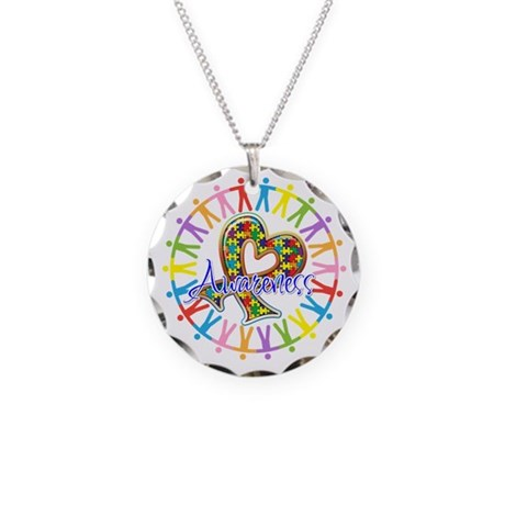 Autism Unite in Awareness Necklace Circle Charm