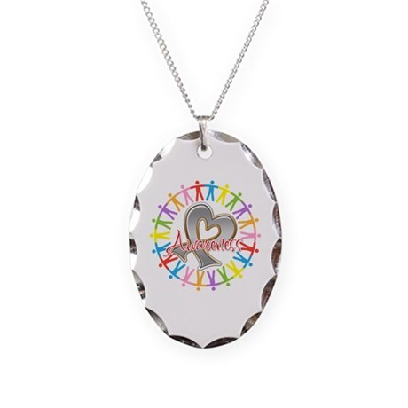 Brain Cancer Unite Awareneness Necklace Oval Charm