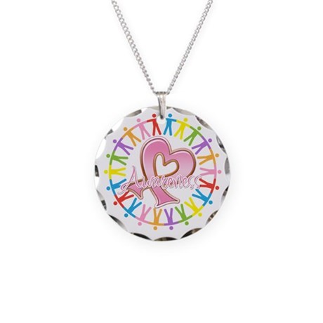 Breast Cancer Unite Awareness Necklace Circle Char