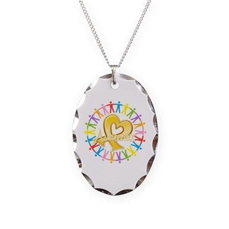 Childhood Cancer Awareness Necklace Oval Charm
