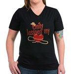 Emily Lassoed My Heart Women's V-Neck Dark T-Shirt