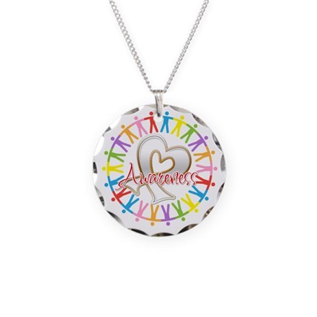 Lung Cancer Unite Awareness Necklace Circle Charm