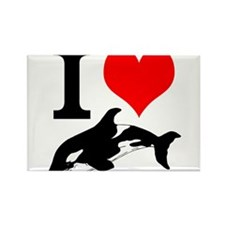 I Heart Whales Rectangle Magnet (100 pack)