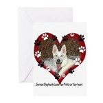 Paw Prints on My Heart, White Greeting Cards (Pk o