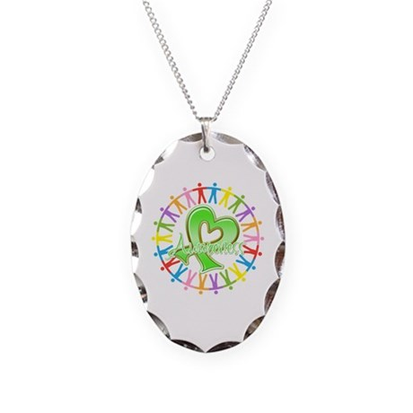 Lymphoma Unite Awareness Necklace Oval Charm