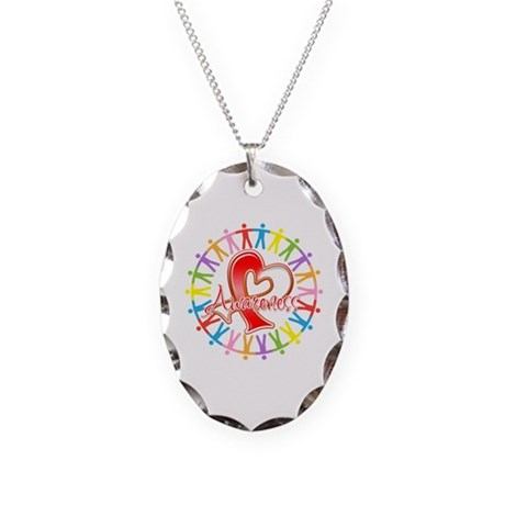 Oral Cancer Unite Awareness Necklace Oval Charm