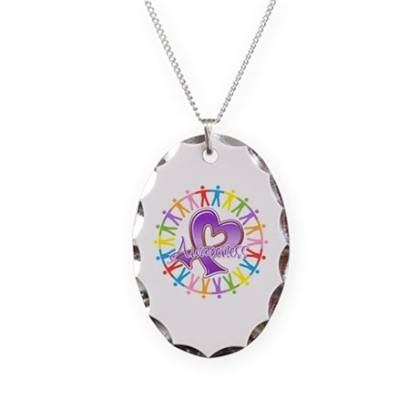 Pancreatic Cancer Unite Necklace Oval Charm