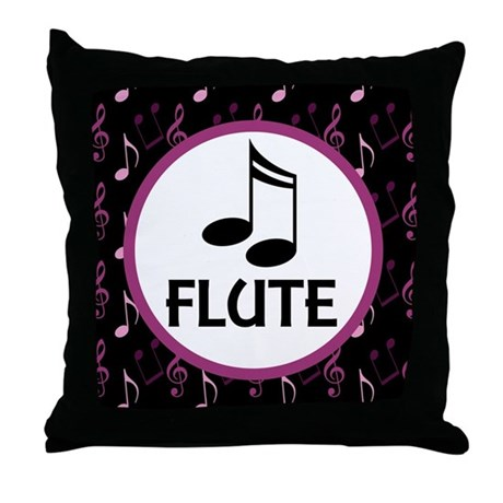 Flute Musical Notes Throw Pillow
