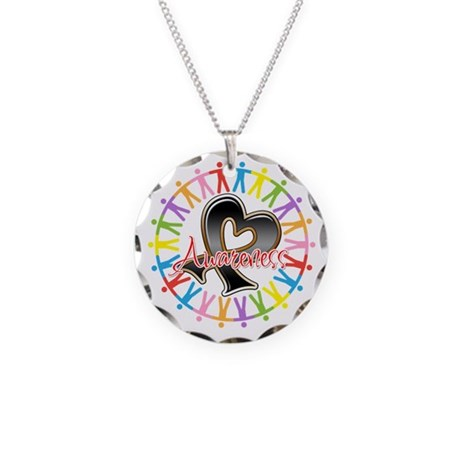 Skin Cancer Unite Awareness Necklace Circle Charm