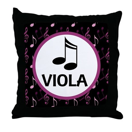 Viola Music Notes Throw Pillow