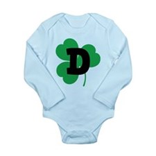 Irish Shamrock Letter D Long Sleeve Infant Bodysui