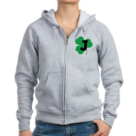 Irish Shamrock Letter J Women's Zip Hoodie