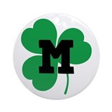 Irish Shamrock Letter M Ornament (Round)