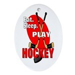 Eat Sleep Play Hockey Oval Ornament