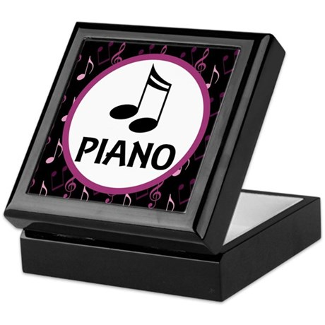 Piano Music Notes Keepsake Box
