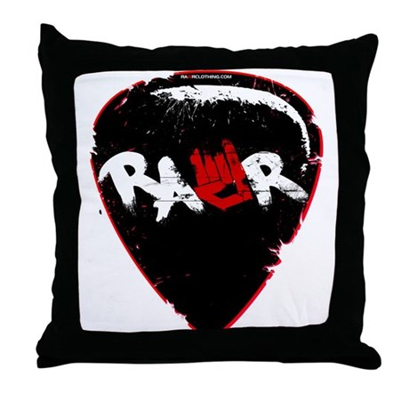 Rawr Guitar Pick Throw Pillow