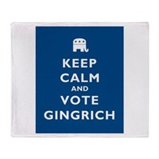 Keep Calm and Vote Gingrich Throw Blanket