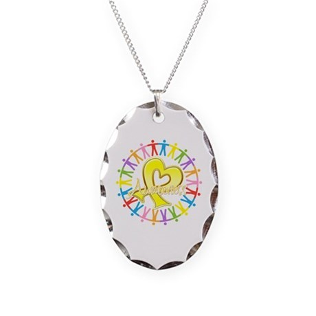 Sarcoma Unite in Awareness Necklace Oval Charm