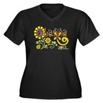Obama Garden Women's Plus Size V-Neck Dark T-Shirt