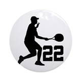 Tennis Uniform Number 22 Player Ornament (Round)