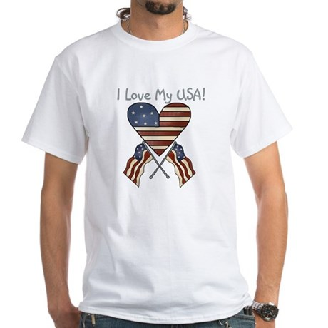 I Love My USA White T-Shirt