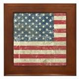 Vintage USA Flag Framed Tile