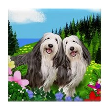 BEARDED COLLIE DOGS MEADOW Tile Coaster
