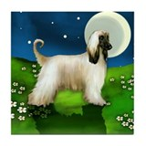 AFGHAN HOUND DOG MOON Tile Coaster