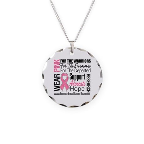 Pink Ribbon Tribute Necklace Circle Charm