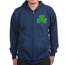 Irish Shamrock Skulls Zip Hoody