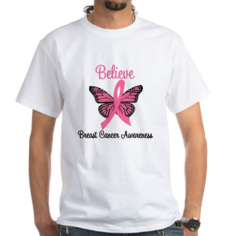 Believe Breast Cancer White T-Shirt