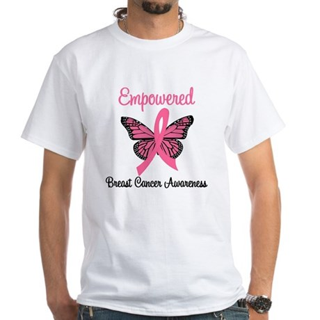 Believe Breast Cancer Butterf White T-Shirt