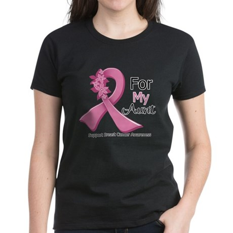 Aunt Breast Cancer Ribbon Women's Dark T-Shirt