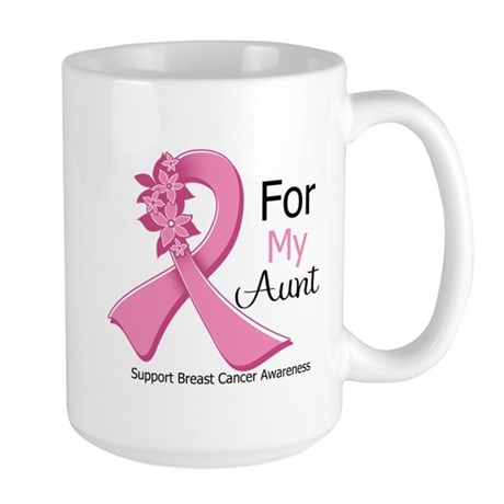 Aunt Breast Cancer Ribbon Large Mug