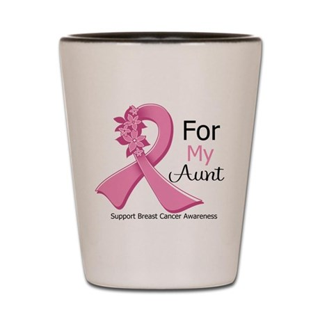 Aunt Breast Cancer Ribbon Shot Glass