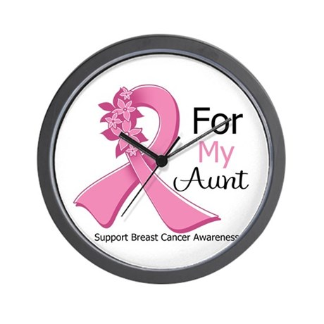 Aunt Breast Cancer Ribbon Wall Clock