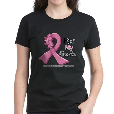 Cousin Breast Cancer Ribbon Women's Dark T-Shirt