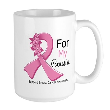 Cousin Breast Cancer Ribbon Large Mug