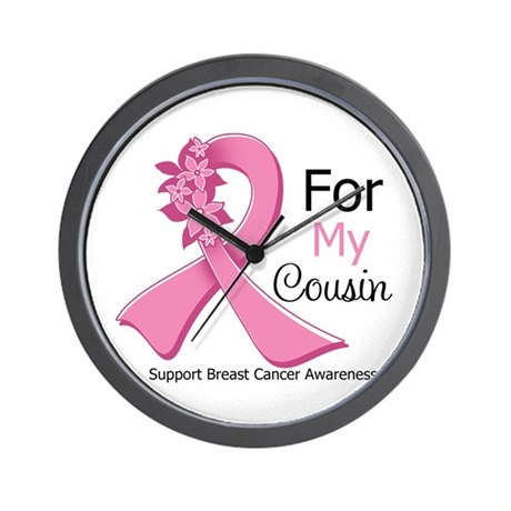 Cousin Breast Cancer Ribbon Wall Clock