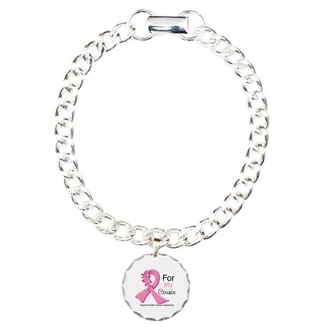 Cousin Breast Cancer Ribbon Charm Bracelet, One Ch