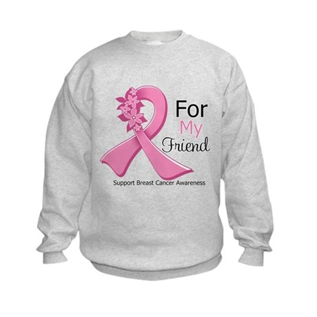 Friend Breast Cancer Ribbon Kids Sweatshirt