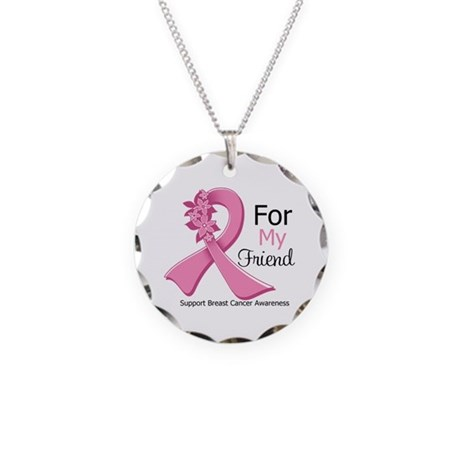Friend Breast Cancer Ribbon Necklace Circle Charm