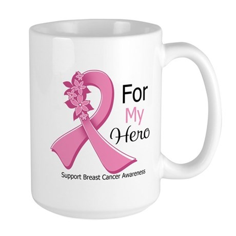 Hero Breast Cancer Ribbon Large Mug