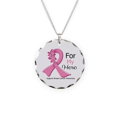 Hero Breast Cancer Ribbon Necklace Circle Charm