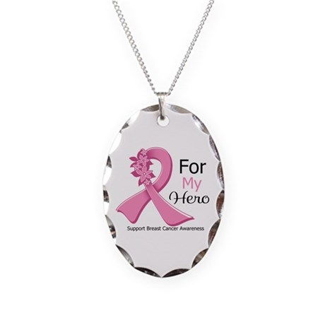 Hero Breast Cancer Ribbon Necklace Oval Charm