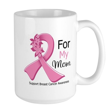 Mom Breast Cancer Ribbon Large Mug
