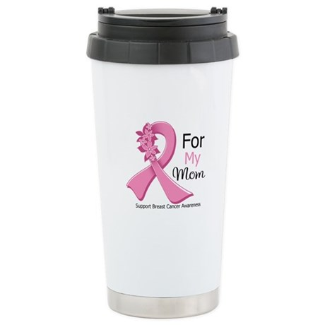 Mom Breast Cancer Ribbon Ceramic Travel Mug