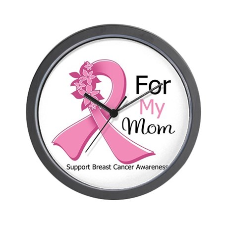 Mom Breast Cancer Ribbon Wall Clock