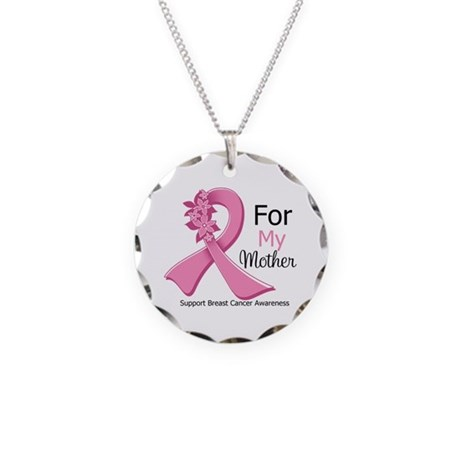 Mother Breast Cancer Ribbon Necklace Circle Charm